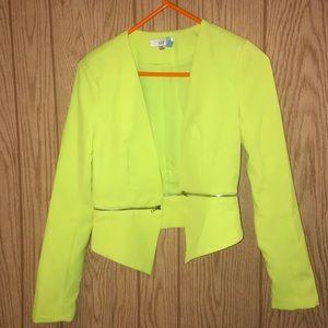 Neon yellow blazer with optional zip off bottom!